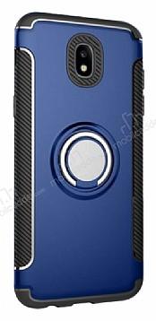 Eiroo Mage Fit Samsung Galaxy J7 Pro 2017 Standlı Ultra Koruma Lacivert Kılıf