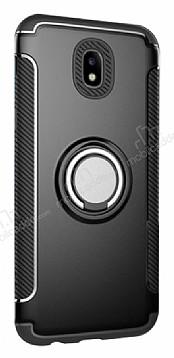 Eiroo Mage Fit Samsung Galaxy J7 Pro 2017 Standlı Ultra Koruma Siyah Kılıf
