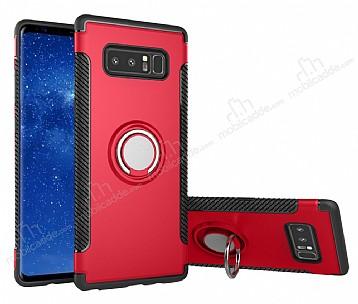 Eiroo Mage Fit Samsung Galaxy Note 8 Standlı Ultra Koruma Kırmızı Kılıf