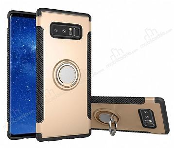 Eiroo Mage Fit Samsung Galaxy Note 8 Standlı Ultra Koruma Gold Kılıf