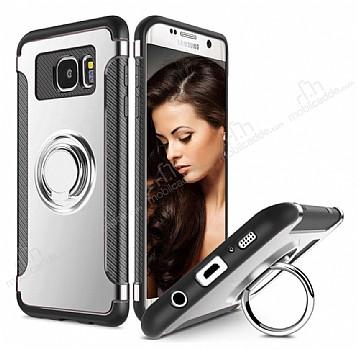 Eiroo Mage Fit Samsung Galaxy S7 Edge Standlı Ultra Koruma Silver Kılıf