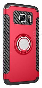 Eiroo Mage Fit Samsung Galaxy S7 Standlı Ultra Koruma Kırmızı Kılıf