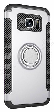 Eiroo Mage Fit Samsung Galaxy S7 Standlı Ultra Koruma Silver Kılıf