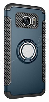 Eiroo Mage Fit Samsung Galaxy S7 Standlı Ultra Koruma Lacivert Kılıf