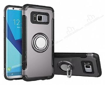 Eiroo Mage Fit Samsung Galaxy S8 Plus Standlı Ultra Koruma Dark Silver Kılıf