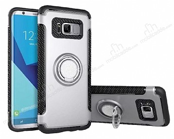 Eiroo Mage Fit Samsung Galaxy S8 Standlı Ultra Koruma Silver Kılıf