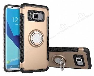Eiroo Mage Fit Samsung Galaxy S8 Standlı Ultra Koruma Gold Kılıf