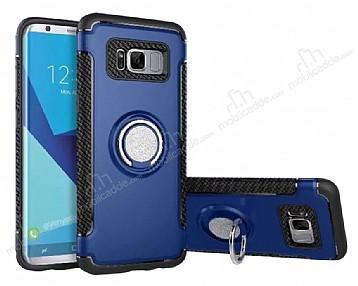 Eiroo Mage Fit Samsung Galaxy S8 Standlı Ultra Koruma Lacivert Kılıf