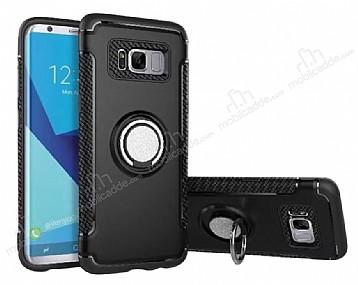 Eiroo Mage Fit Samsung Galaxy S8 Standlı Ultra Koruma Siyah Kılıf
