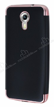 Eiroo Matte Fit General Mobile Android One Rose Gold Kenarlı Siyah Silikon Kılıf