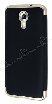 Eiroo Matte Fit General Mobile Android One Gold Kenarlı Siyah Silikon Kılıf