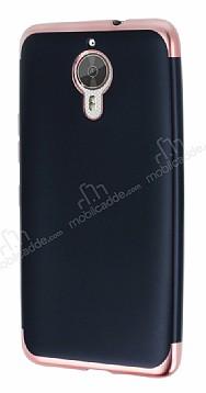 Eiroo Matte Fit General Mobile GM 5 Plus Rose Gold Kenarlı Siyah Silikon Kılıf