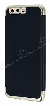 Eiroo Matte Fit Huawei P10 Plus Gold Kenarlı Siyah Silikon Kılıf
