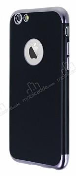 Eiroo Matte Fit iPhone 6 / 6S Dark Silver Kenarlı Siyah Silikon Kılıf