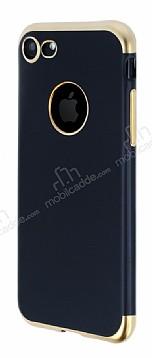Eiroo Matte Fit iPhone 7 / 8 Gold Kenarlı Siyah Silikon Kılıf