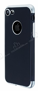 Eiroo Matte Fit iPhone 7 Silver Kenarlı Siyah Silikon Kılıf