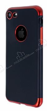 Eiroo Matte Fit iPhone 7 Kırmızı Kenarlı Siyah Silikon Kılıf