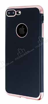 Eiroo Matte Fit iPhone 7 Plus Rose Gold Kenarlı Siyah Silikon Kılıf