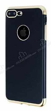 Eiroo Matte Fit iPhone 7 Plus / 8 Plus Gold Kenarlı Siyah Silikon Kılıf
