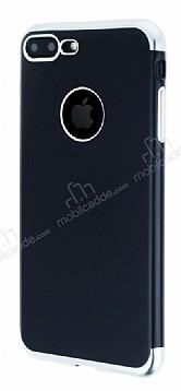 Eiroo Matte Fit iPhone 7 Plus / 8 Plus Silver Kenarlı Siyah Silikon Kılıf