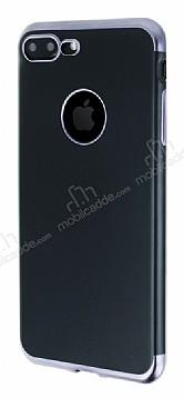 Eiroo Matte Fit iPhone 7 Plus Dark Silver Kenarlı Siyah Silikon Kılıf