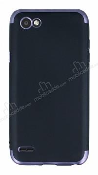 Eiroo Matte Fit LG Q6 Siyah Kenarlı Siyah Silikon Kılıf