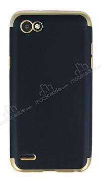 Eiroo Matte Fit LG Q6 Gold Kenarlı Siyah Silikon Kılıf