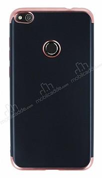 Eiroo Matte Fit Huawei P9 Lite 2017 Rose Gold Kenarlı Siyah Silikon Kılıf