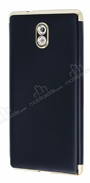 Eiroo Matte Fit Nokia 3 Gold Kenarlı Siyah Silikon Kılıf