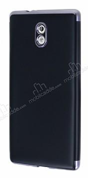 Eiroo Matte Fit Nokia 3 Dark Silver Kenarlı Siyah Silikon Kılıf