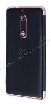 Eiroo Matte Fit Nokia 5 Rose Gold Kenarlı Siyah Silikon Kılıf
