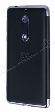 Eiroo Matte Fit Nokia 5 Dark Silver Kenarlı Siyah Silikon Kılıf