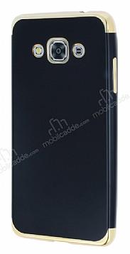 Eiroo Matte Fit Samsung Galaxy J3 Pro Gold Kenarlı Siyah Silikon Kılıf
