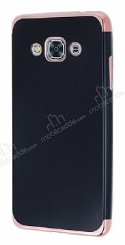 Eiroo Matte Fit Samsung Galaxy J3 Pro Rose Gold Kenarlı Siyah Silikon Kılıf