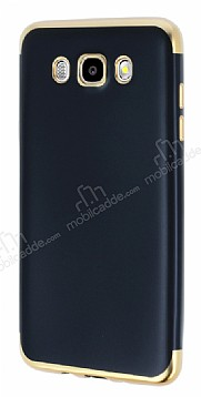 Eiroo Matte Fit Samsung Galaxy J7 2016 Gold Kenarlı Siyah Silikon Kılıf