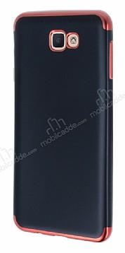 Eiroo Matte Fit Samsung Galaxy J7 Prime Kırmızı Kenarlı Siyah Silikon Kılıf