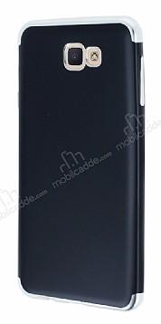 Eiroo Matte Fit Samsung Galaxy J7 Prime Silver Kenarlı Siyah Silikon Kılıf