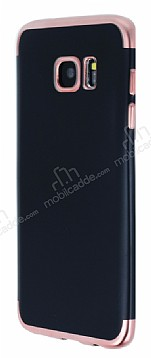 Eiroo Matte Fit Samsung Galaxy S7 Edge Rose Gold Kenarlı Siyah Silikon Kılıf