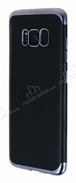 Eiroo Matte Fit Samsung Galaxy S8 Plus Dark Silver Kenarlı Siyah Silikon Kılıf