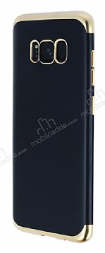Eiroo Matte Fit Samsung Galaxy S8 Plus Gold Kenarlı Siyah Silikon Kılıf