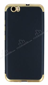 Eiroo Matte Fit Vestel Venus Z10 Gold Kenarlı Siyah Silikon Kılıf