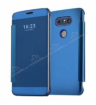 Eiroo Mirror Cover LG G5 Aynalı Kapaklı Dark Blue Kılıf
