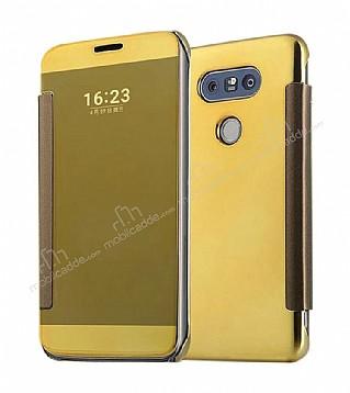 Eiroo Mirror Cover LG G5 Aynalı Kapaklı Gold Kılıf