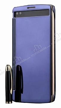 Eiroo Mirror Cover LG V10 Aynalı Kapaklı Uyku Modlu Lacivert Kılıf