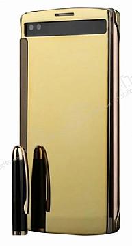 Eiroo Mirror Cover LG V10 Aynalı Kapaklı Uyku Modlu Gold Kılıf