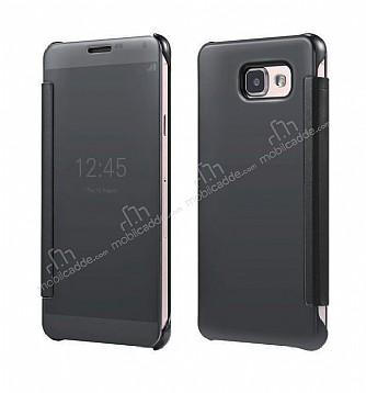 Eiroo Mirror Cover Samsung Galaxy A3 2016 Aynalı Kapaklı Siyah Kılıf