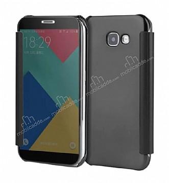 Eiroo Mirror Cover Samsung Galaxy A3 2017 Aynalı Kapaklı Siyah Kılıf