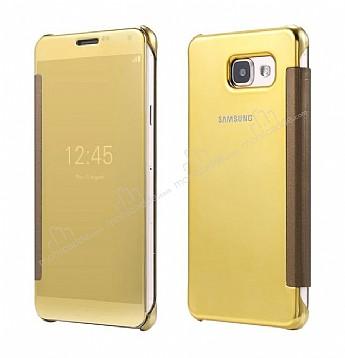 Eiroo Mirror Cover Samsung Galaxy A7 2016 Aynalı Kapaklı Gold Kılıf
