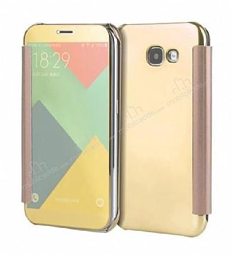Eiroo Mirror Cover Samsung Galaxy A7 2017 Aynalı Kapaklı Gold Kılıf