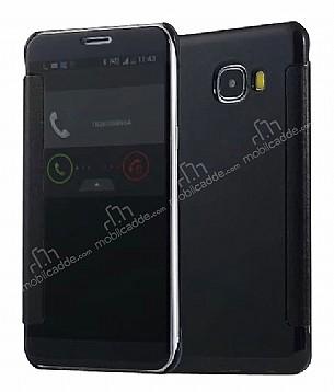 Eiroo Mirror Cover Samsung Galaxy C5 Aynalı Kapaklı Siyah Kılıf